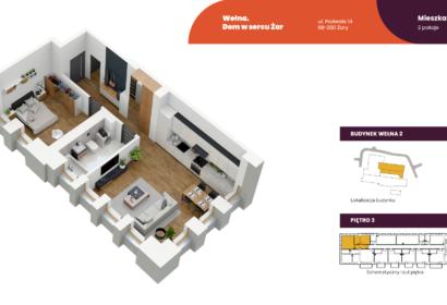 Wełna rzut 3D mieszkania W2 3,7