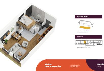 Wełna rzut 3D mieszkania W1 2.5