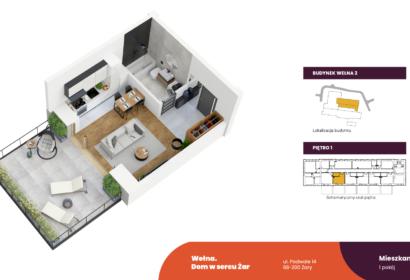 Wełna rzut 3D mieszkania W2 1.5